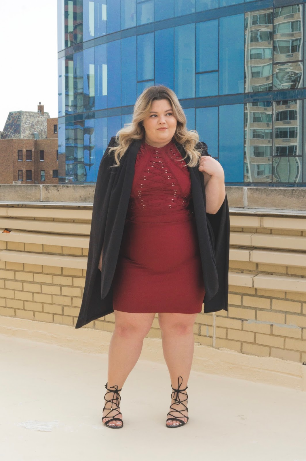 natalie craig, natalie in the city, Chicago plus size fashion blogger, fashion blogger, outfit review, fashion nova, fashion nova curve, Chicago plus size model, plus size body con dress, plus size bandage dress, lace up trend, affordable plus size fashion, off your beauty standards, embrace my curves, plus model mag, skorch magazine