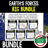 Earth's Forces, EARTH SCIENCE MEGA BUNDLE, Earth Science Curriculum, Anchor Charts, Game Cards, Puzzles, Vocabulary Activities, Choice Boards, Digital Interactive Notebooks, Word Walls, Picture Puzzles, Test Prep