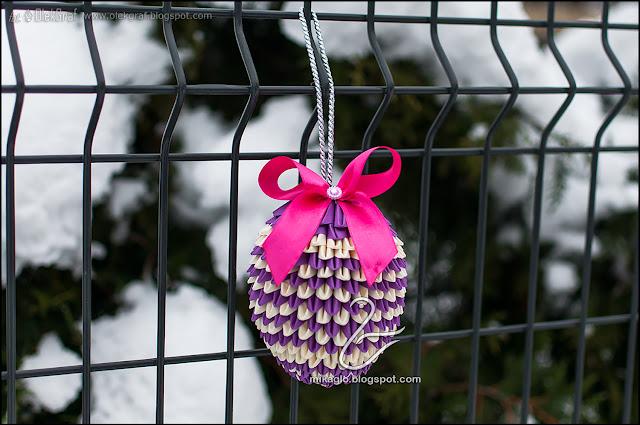 512. Bombka z origami / 3d origami violet bauble