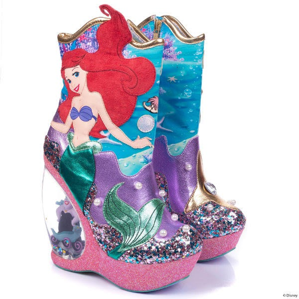 mermaid ankle boots with glitter and metallic details and pearls