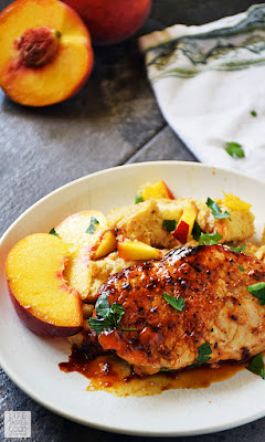 Peach Glazed Pork Chops and Stuffing | by Life Tastes Good