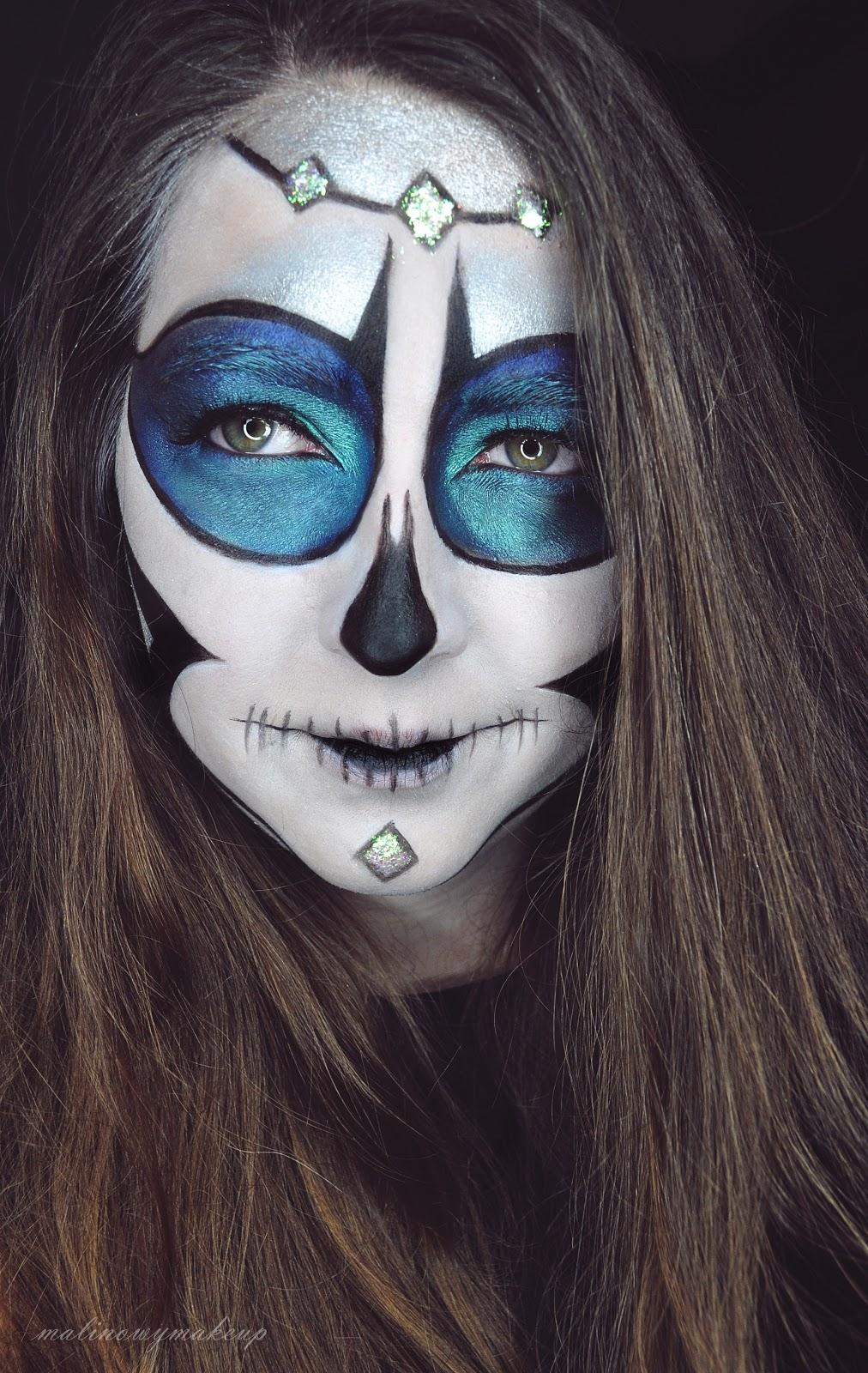 sugar skull halloween makeup makijaż charakteryzacja