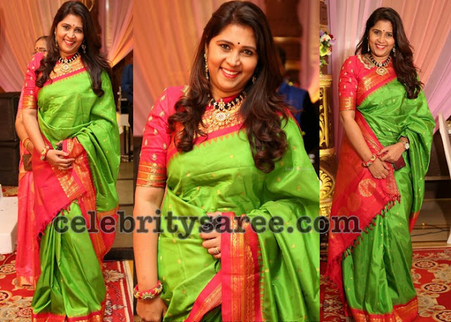 Green and Red Traditional Silk Sari