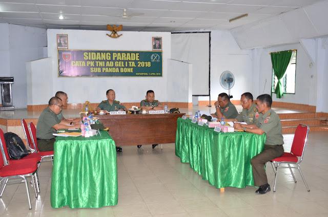 Korem 141/Tp Gelar Sidang Parade Cata PK TNI AD Gelombang I