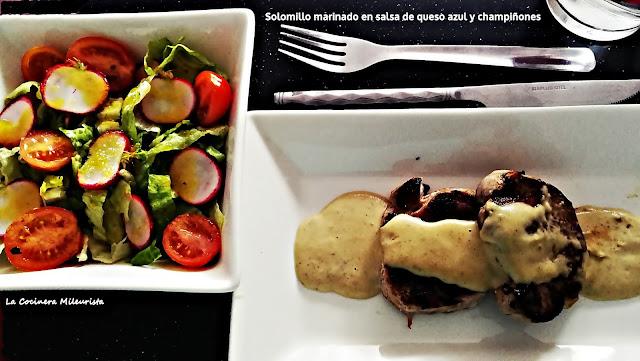 Solomillo Marinado En Salsa De Queso Azul Y Champiñones