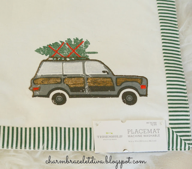 Target Threshold Christmas placemat woody station wagon christmas tree
