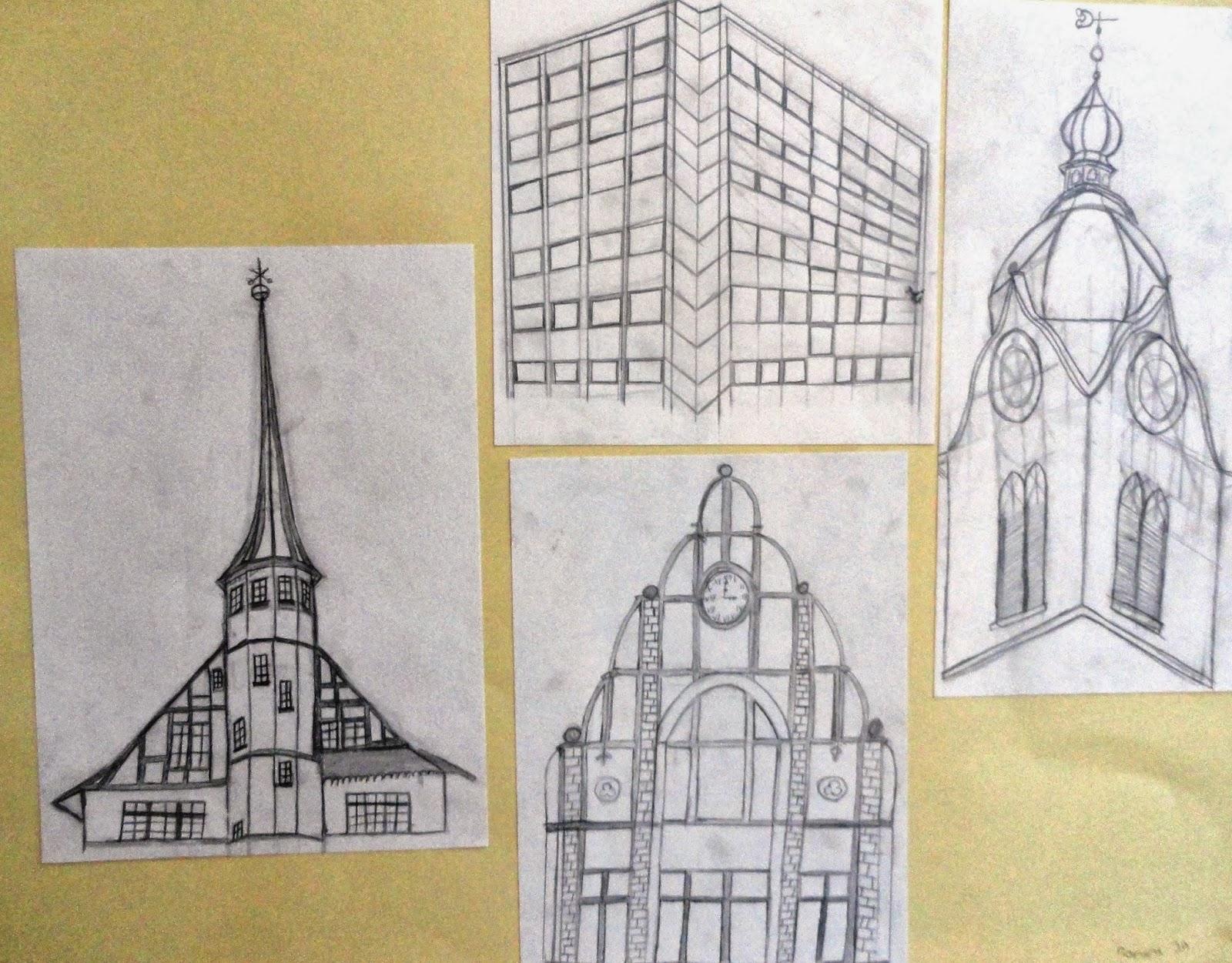 Typisch Reinach Architekturskizzen Bleistift Skyline Filzstifte Linoldruck