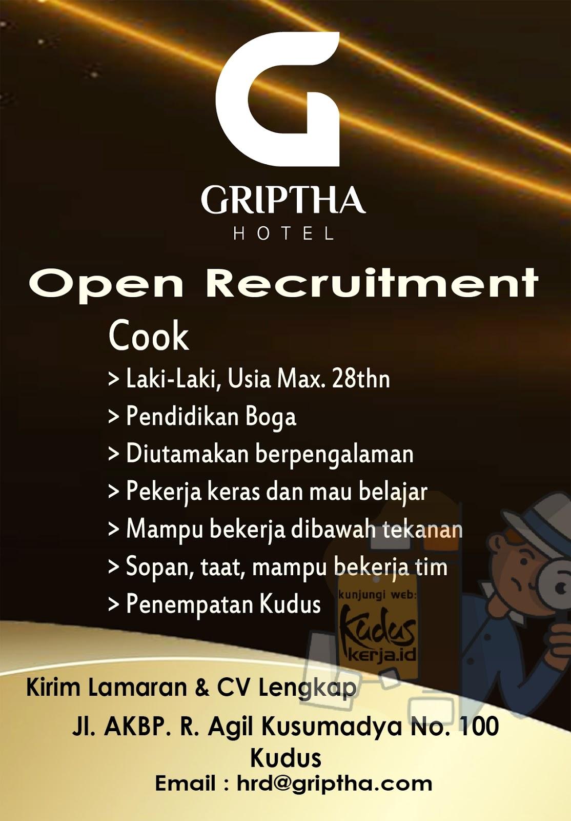 Lowongan Kerja Kudus Cook di Hotel Griptha