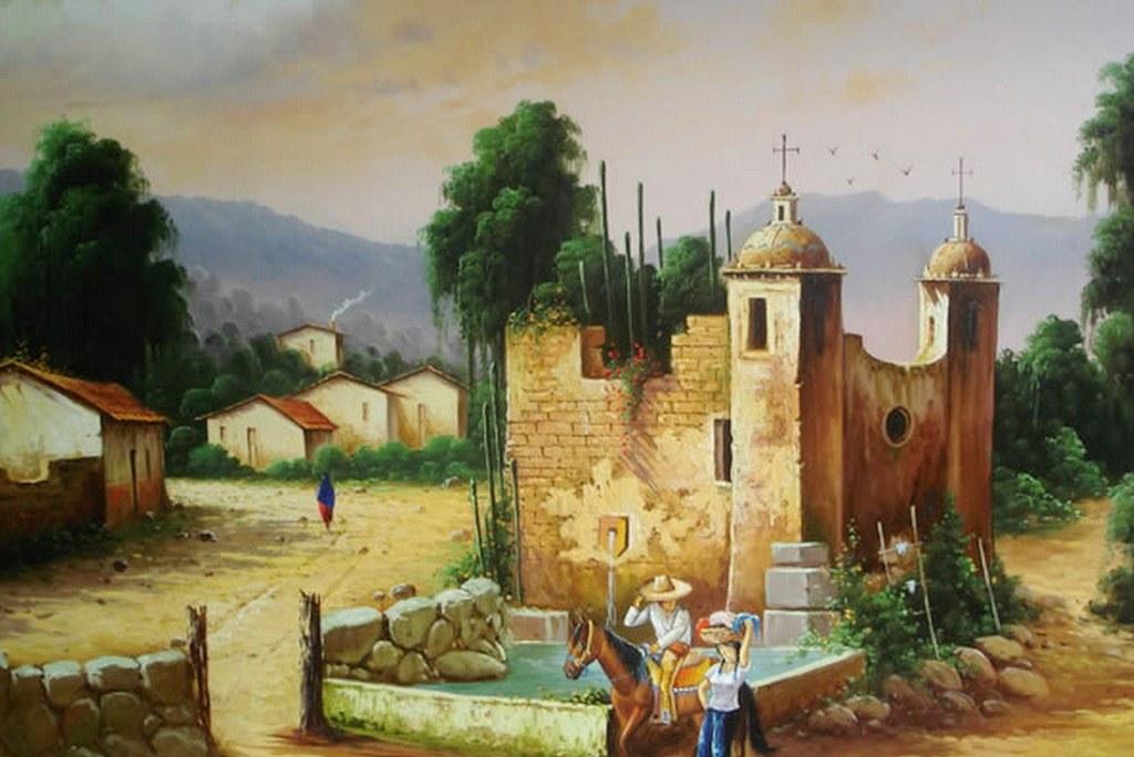 Pinturas cuadros lienzos casas de pueblos mexicanos for Cuadros mexicanos rusticos