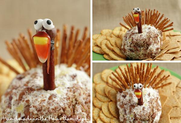 Cute cheeseball that looks like a turkey!
