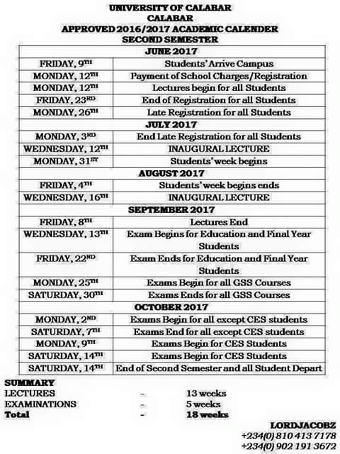 UNICAL Approved Academic Calendar For 2nd Semester 2016/2017 ...