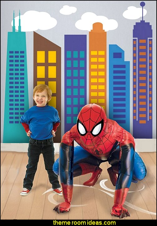 Spiderman Airwalker   Modern City Wall Decal Bold Colorful City Skyline Wall Sticker