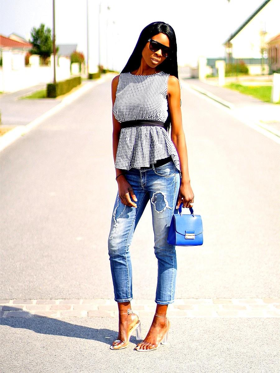 furla metropolis tendance vichy gingham tend jeans dechire sandales perspex