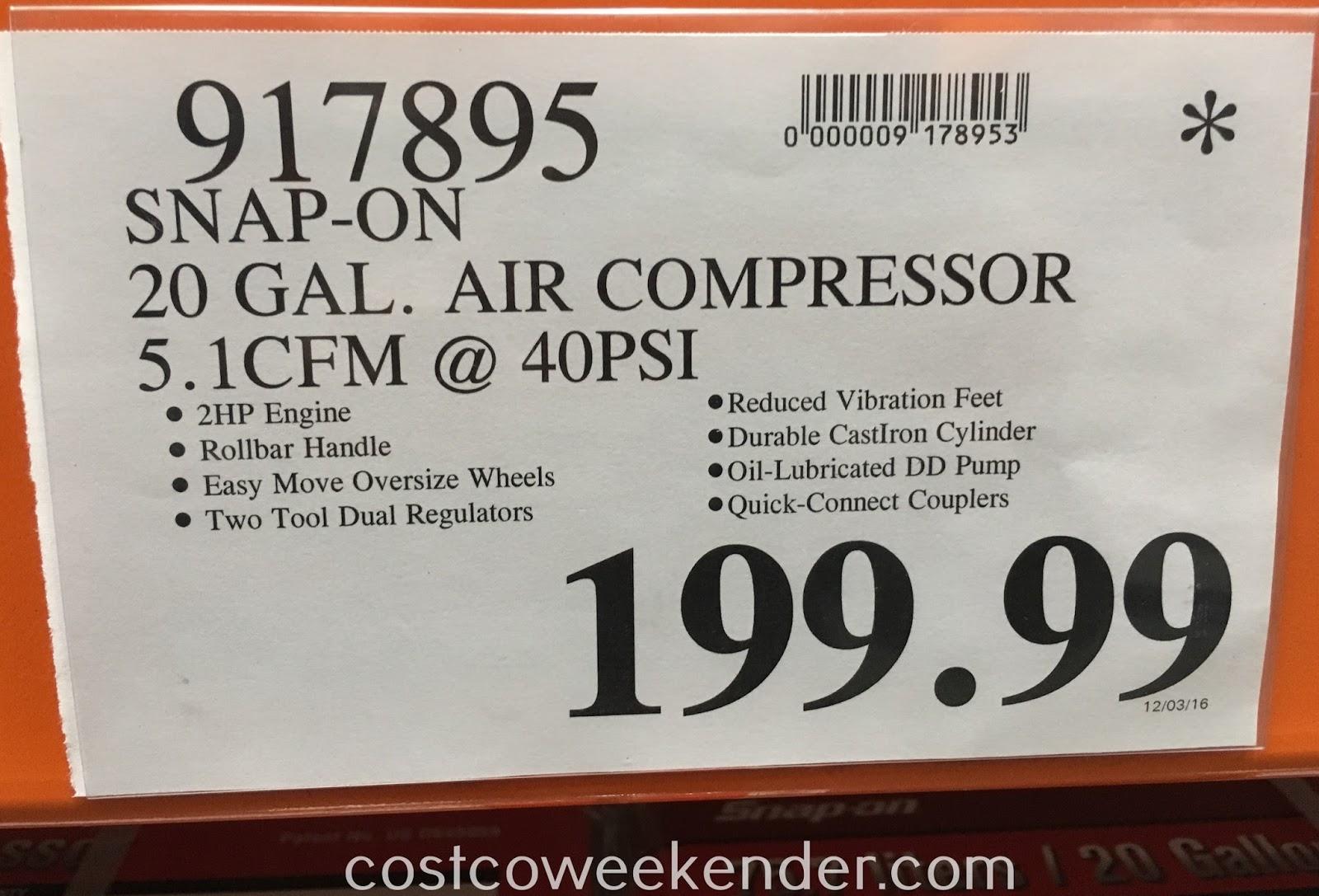 Costco 917895 Deal For The Snap On 20 Gallon Air Compressor At Costco