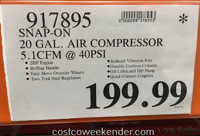 Costco 917895 - Deal for the Snap-On 20 Gallon Air Compressor at Costco