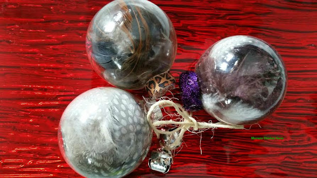 DIY glass feather ornaments