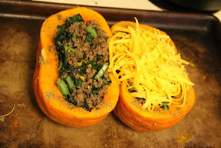 Stuffed kabocha squash, with cheese