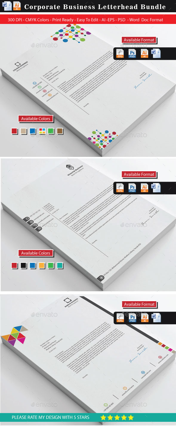 Creative Letterhead Bundle  Free Letterhead Template Word