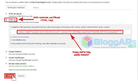 Verifikasi situs Blog di Google Webmaster Tools