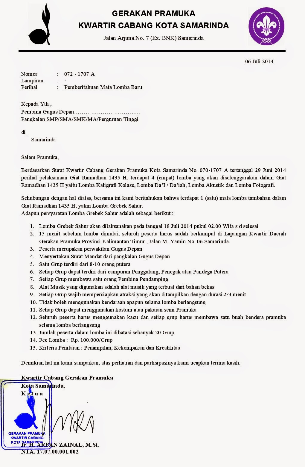 Contoh Surat Pengunduran Diri Dari Organisasi Pramuka ...