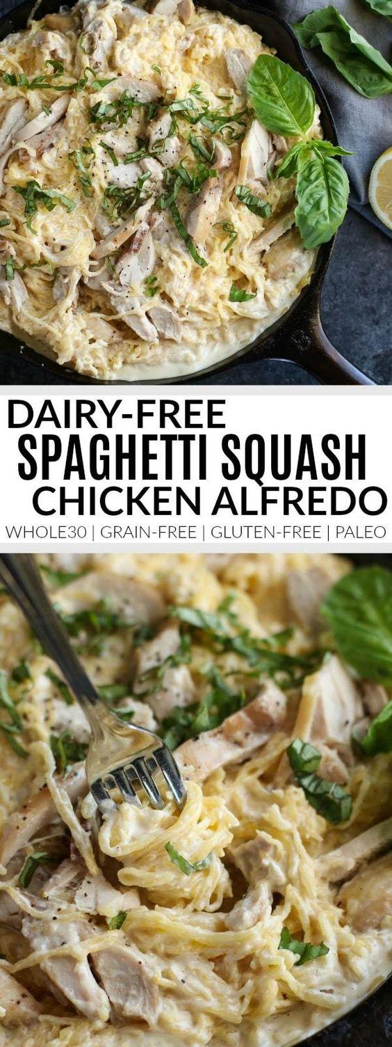 Healthy Dairy-free Spaghetti Squash Chicken Alfredo