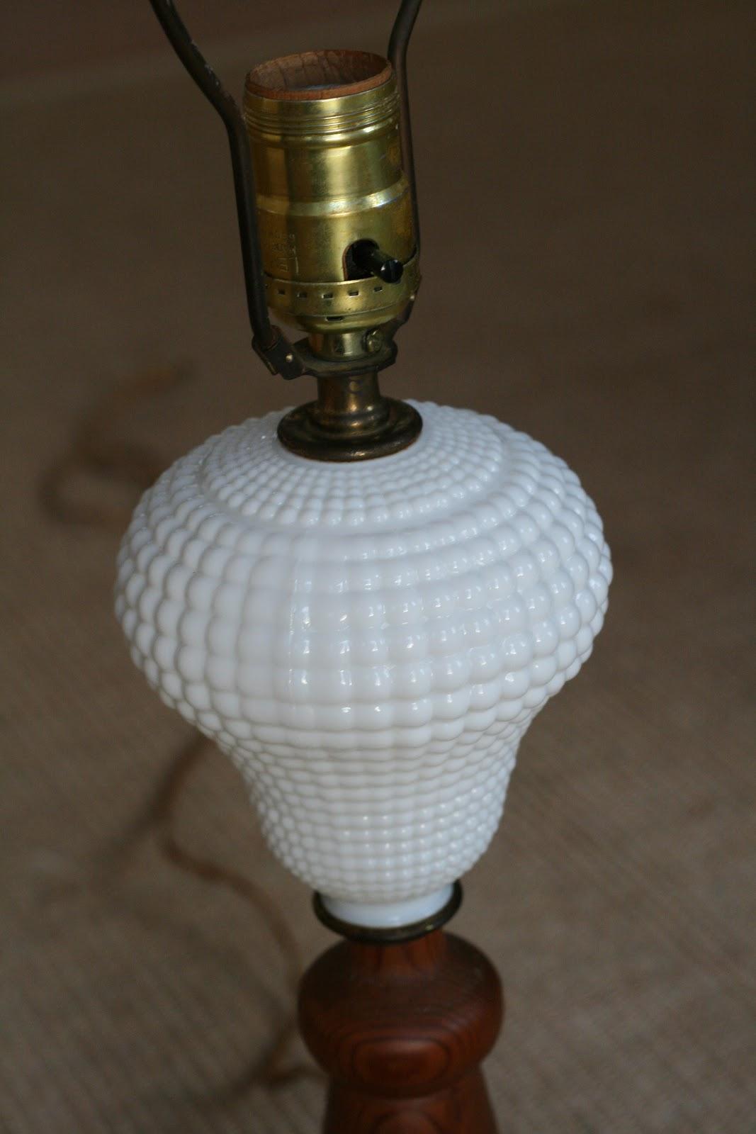 Hobnail Milk Glass Lamp