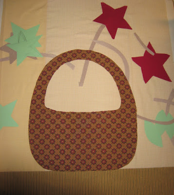 fabric basket about to be appliqued