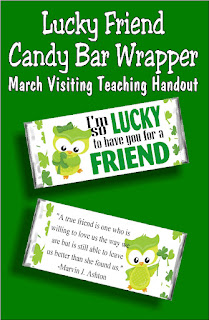 "Let your Visiting Teaching sisters know how lucky you are to have them in your life with this fun St Patricks Day candy bar printable. With the saying ""I'm lucky to have you for a friend"" on the front and a beautiful saying about friends on the back, this is the perfect card and gift for any of your friends this March."