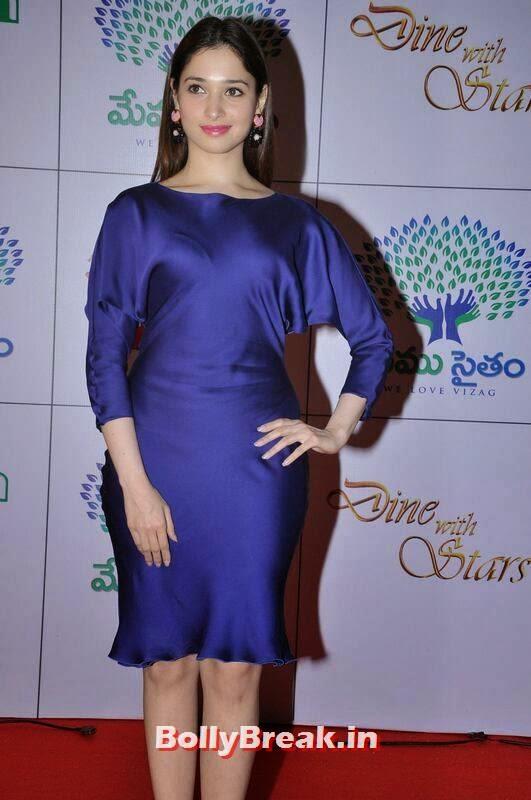 Tamanna Pics in Blue Dress, Tamanna Bhatia Hot Pics in Blue Dress