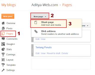 Halaman Statis, Static Page, Membuat Halaman Statis di Blog