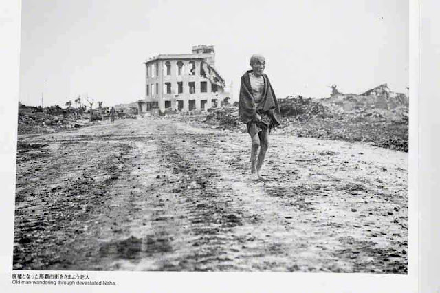 B&W image, war, old man walking,Okinawa 1945