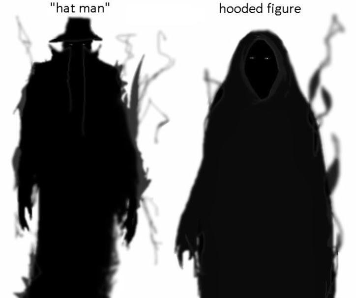 shadow people, pessoas sombra, hat man, homem do chapéu, hooded figure