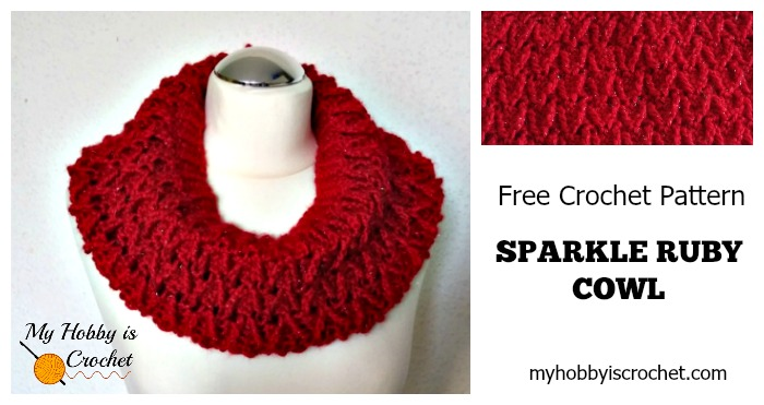 My Hobby Is Crochet Sparkle Ruby Cowl Free Crochet Pattern Red