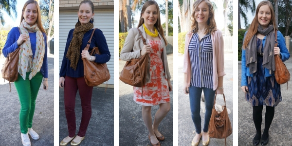 5 ways to wear balenciaga brown day bag with colourful outfits | away from the blue