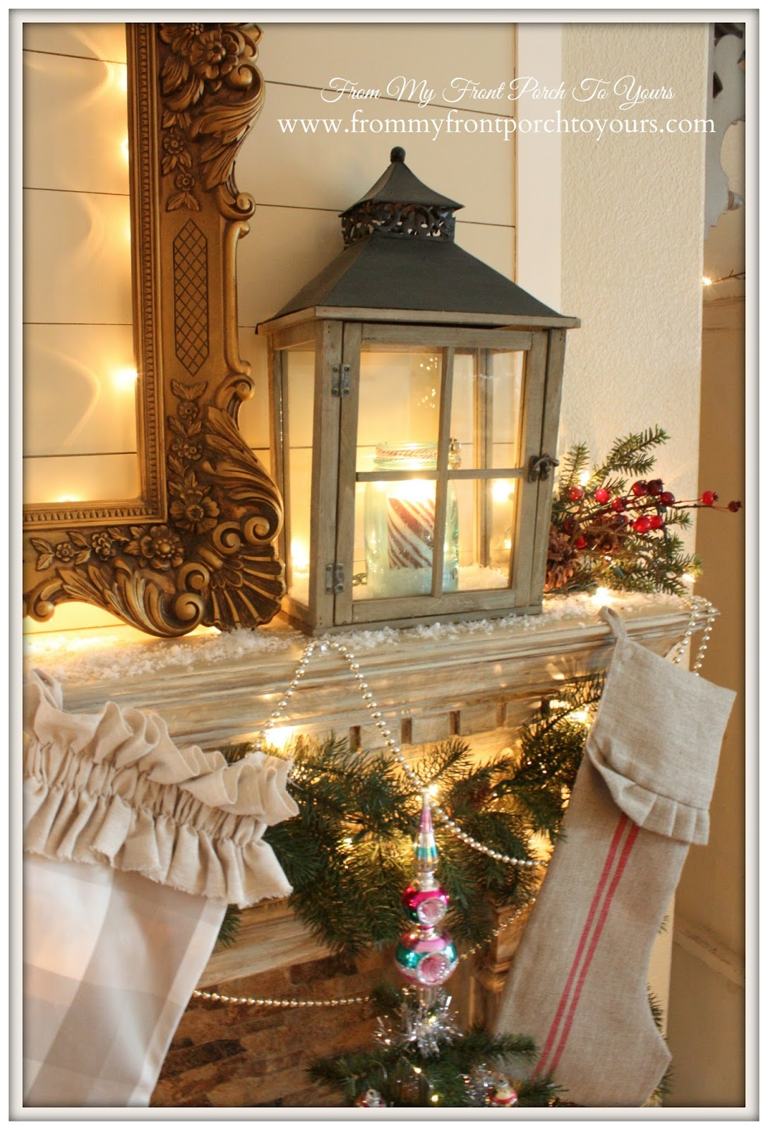 French Farmhouse Vintage Christmas Mantel 2014-Vintage- From My Front Porch To Yours