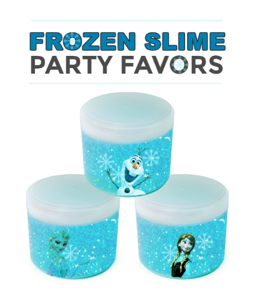 FROZEN SLIME PARTY FAVORS- great for holiday parties and Frozen themed birthday parties!  #frozen #slimerecipe #frozenpartyfavor #slimeforkids