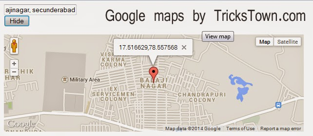 Google maps API to show map after button click using text