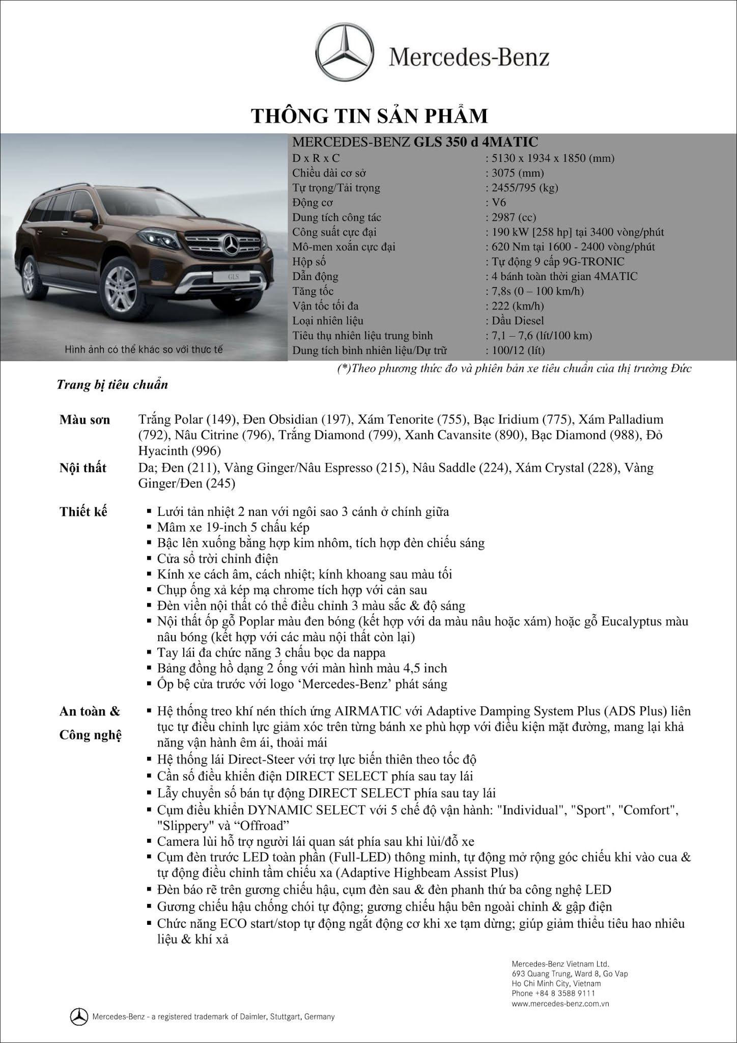 Bảng thông số kỹ thuật Mercedes GLS 350d 4MATIC 2019