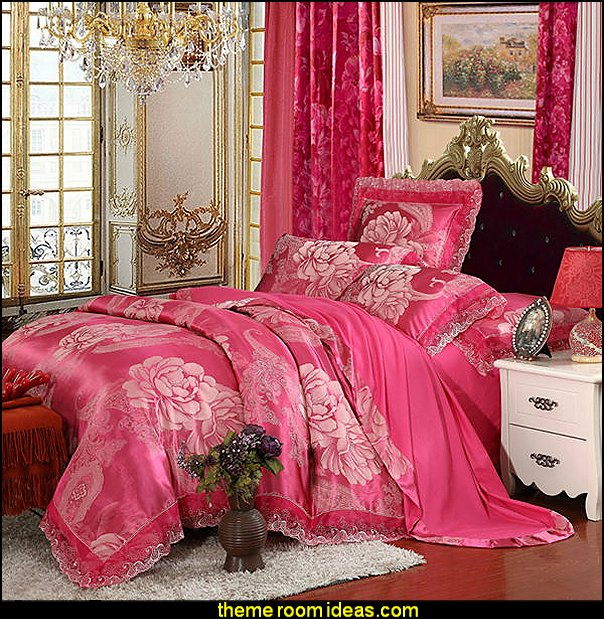 Peonies jacquard pattern lace border duvet cover set