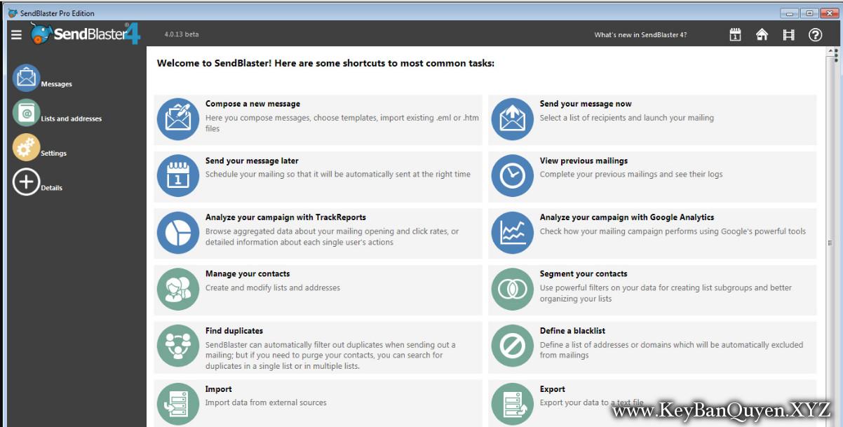 SendBlaster Pro Edition 4.1.13 Multilingual Full Key ,Phần mềm hỗ trợ Email Marketing tốt nhất.