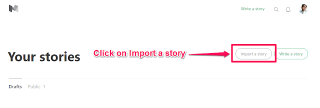 Click on Import a story