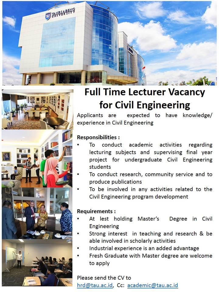 Lowongan Tenaga Dosen Untuk Prodi Teknik Sipil Universitas Tanri Abeng