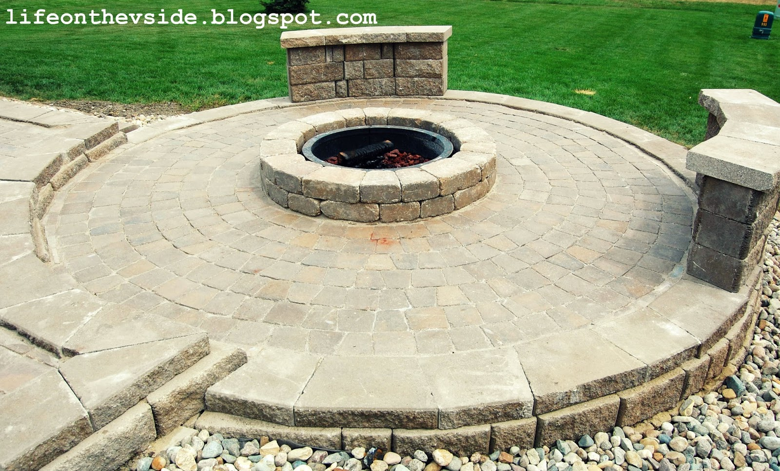 On the V Side: He Built Me a Patio. And I Liked It. on Paver Patio Designs With Fire Pit id=70074