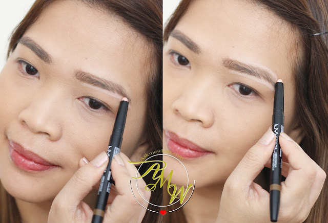 a photo on how to apply NYX Sculpt and Highlight Brow Contour
