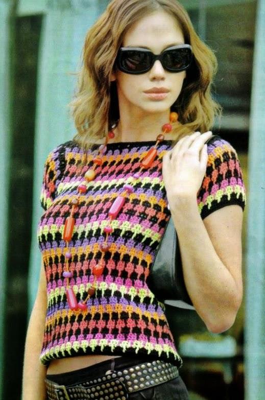 Blusa Multicolor a Crochet