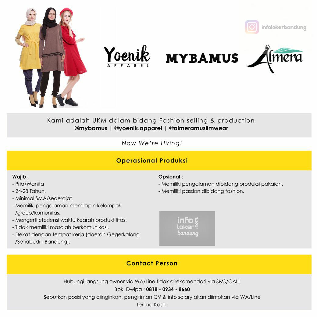 Lowongan Kerja @mybamus  @yoenik.apparel @almeramuslimwear Bandung Februari 2017