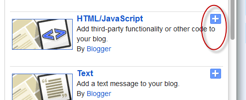 html javascript blogger gadgets widgets
