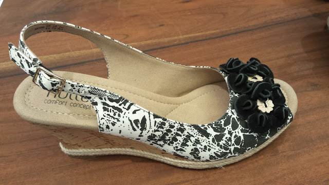 black and white floral wedges from Hotter shoes