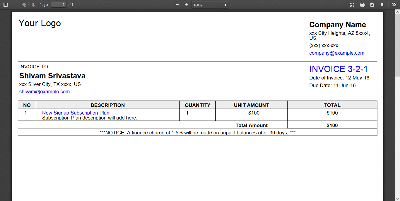 Add Below Two Methods In Your Webpage For Generate Invoice PDF.  Generate An Invoice