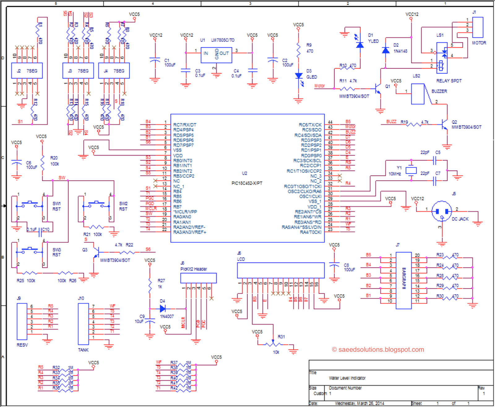 Liquid Level Controller Circuit Diagram 2002 Nissan Altima Stereo Wiring Water Indicator Using Pic Microcontroller